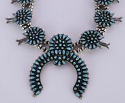 Old Zuni Sterling Silver Petit Point Turquoise Huge Squash Blossom Necklace
