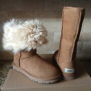 Ugg Alexi Classic Tall Chestnut Suede Curly Fur Cuff Boots Size Us 6 Womens New