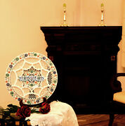 16and039and039 White Marble Grill Work Plate Rare Gemstone Inlay Dining Table Decor H3710