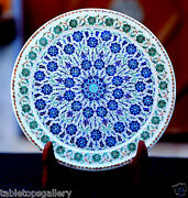 Marvelous White Marble Serving Plate Micro Mosaic Real Lapis Inlay Decor H1950