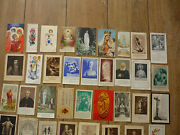 Lot Of 44 Vintage French Holy Cards All Different Joan Of Arc , Jesus , Mary