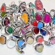 Wholesale Lot Multi Stone Dichroic Glass And Shiva Eye 925 Silver Plated Ring
