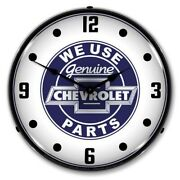 We Use Chevrolet Chevy Parts Backlit Led Lighted Wall Clock Man Cave New