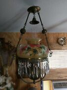 Stunning Antique Brass Hand Painted Shade Hanging Oil Lamp