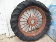 Vintage F And H Rear Spoked Tractor Wheel And Old Tire Mccormick International