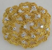Fine Brooch Pin 18k Yellow Gold W 1.6 Carat Diamonds Huge And Heavy Coral Design