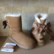 Ugg Customizable Short Bailey Bow Ribbon Chestnut Suede Fur Boots Size 7 Womens