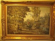 J Nordmann Impressionist Painting Of Man And Woman Strolling In Horse Buggy Signed
