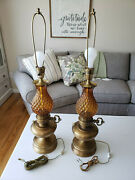 Lot Of 2 Vintage 1970s Quilted Amber Brown Glass Brass Oil Table Hollywood Lamps