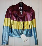 New George J Love Lambskin Leather Women's Jacket Us 8 10 L Made In Italy