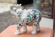 10'' Rare Sculpture White Marble Elephant Handmade Inlaid Collectible Art H3163