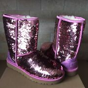 Ugg Classic Short Pink Sparkles Sequin Sheepskin Boots Size Us 7 Womens