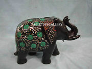 7 Black Marble Elephant Statue Malachite Inlay Marquetry Art Decor Gifts H2527