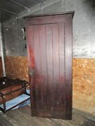 Antique Tall Wood Rustic Farm House Pantry Closet Storage Cabinet Barn Cupboard