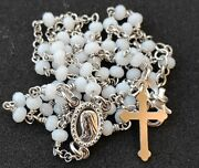 Sterling Silver 925 Rosary Necklace Crystal White Beads From Medjugorje Rosaries