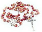 Catholic Red Crystal Rosary Murano Glass Rosaries From Medjugorje + Gift Bag