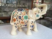 8and039and039 White Marble Elephant Statue Unique Arts Inlaid Trunk Up Marquetry Art H3162