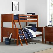 Farmhouse Convertible Twin-over-full Size Walnut Wooden Bed Frame Bunk Beds