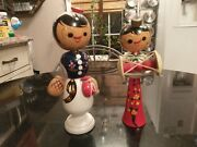 Hand Made And Painted Wood Asian Bobble Head Dolls
