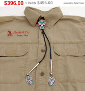 Sale Sale Figural Stylized Bird Bolo Tie Chip Inlay Matching Tips Sterling