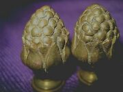 Vintage Brass Finials- Pair Of Large Solid Brass Knobs/ Decorative/ Finials
