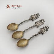 Gold Pan Nuggets Souvenir Spoons Set Goldfield Nevada Gilt Bowls Sterling Silver