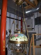 Antique Brass And Flowered Shade Oil Hanging Lamp Converted To Electric