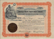 New Jersey 1902 American Electric Improvement Company Stock Certificate 16