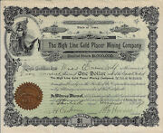 New Mexico 1897 The High Line Gold Placer Mining Co Stock Certifiicate 42 Iowa