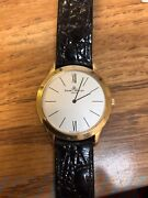 Vintage Baume And Mercier Menand039s 18kt Yellow Gold On Leather Strap Watch Mv045154