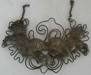 Antique Chinese Sterling Silver Huge And Heavy Pendant Necklace Foo Dogs, 6.5 W