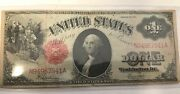 1917 United States 1 Saw Horse Large Size Red Seal Note In Plastic Sleeve