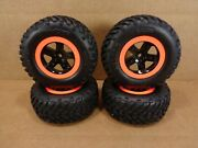 New Traxxas 4x4 Slash Set Of 4 Orange And Black 12mm Wheels And Spec Tires 4wd