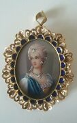 18 Kt Italy Corletto Hand Painted Victorian Cameo Precious Stones Pendant Brooch