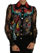 New 4800 Dolce And Gabbana Blouse Black Lace Crystal Space Shirt Top It36 /us2/xs