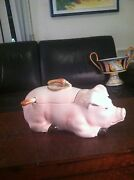 Intrada Ceramic Pink Pig Figurine Soup Tureen Made In Italy