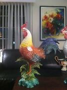 Last One Intrada Italian Ceramic Large Colored Rooster. Made In Italy