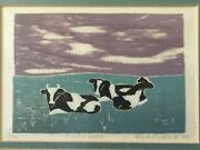 Art Etching By Signed In Pencil By Artist Ruth Conklin, Limited Numbered, Cows