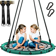 660 Lb Spider Web Swing 40 Inch For Tree Kids With Steel Frame +2 Hanging Straps