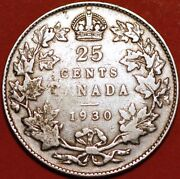 25 Cents 1930 George V Silver Canada Km24a G389to