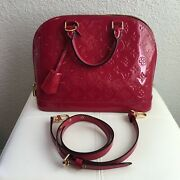 9/10 Condition Louis Vuitton Alma Vernis Pm Indian Rose Pink With Strap Dustbag