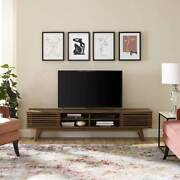 Mid-century Design Tv Stand With Shelves And Storage For Tvand039s Up To 70andrdquo In Walnut