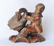 1950's Chinese Communist Cultural Revolution Boxwood Carving Boy Goose Sculpture