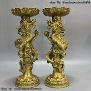 Brass Copper Dragon Hold Bead Oil Lamps Candlestick Candleholder Statue Pair