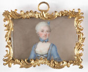 Portrait Of A Rococo Lady, High Quality German Miniature On Porcelain, Ca.1750