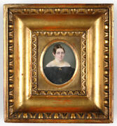 Portrait Of A Lady In Black Dress, French Miniature, Ca. 1840