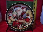 Mary Engelbreit Christmas Plate With Santa And Children F/s