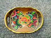 Antique Carved Wood 15 X 11 Handled Serving Tray Hand Painted Flowers ❤️ Ts17j