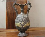 China Vintage Collect Handmade Engraved Pure Silver Gilt Dragon Pot Vase A Pair
