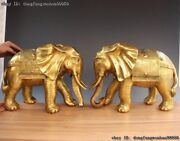 China Royal Palace Brass Copper Fengshui Auspicious Elephant Animal Statue Pair